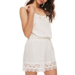 Topshop Vintage Style Cotton And Lace Romper Teddy